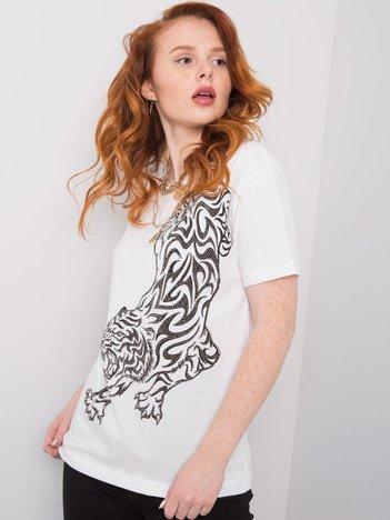 Biały t-shirt z nadrukiem Mabel