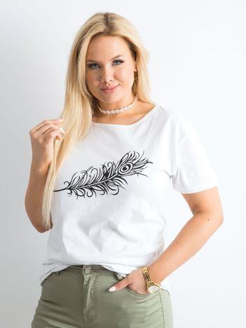 Biały t-shirt z nadrukiem PLUS SIZE