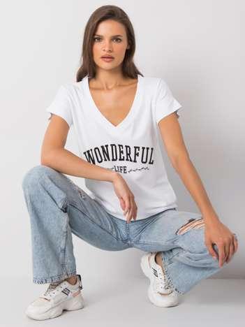 Biały t-shirt z napisem Leila