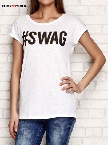 Biały t-shirt z napisem SWAG FUNK N SOUL
