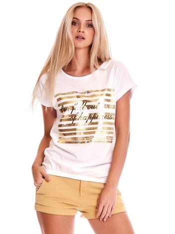 Biały t-shirt ze złotym printem