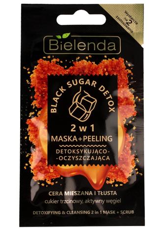 Bielenda Black Sugar Detox Maska+Peeling 2w1 detoksykująco-oczyszczająca 8g