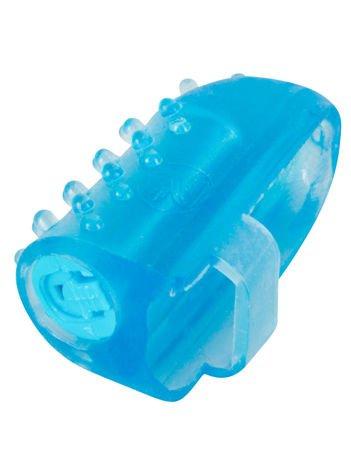 Błękitny wibrator z wypustkami zakładany na palec