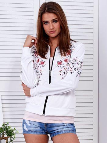 Bluza bomberka biała w kwiatowy deseń