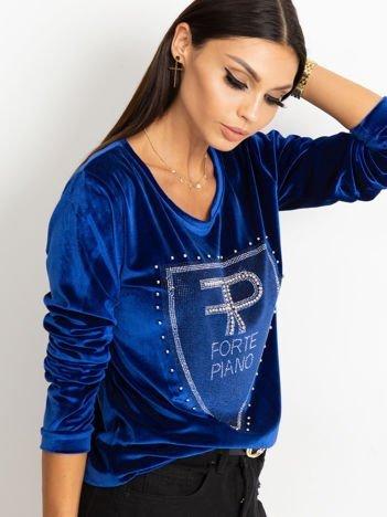Bluza damska aksamitna z aplikacją z perełek i dżetów niebieska