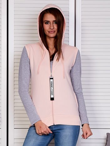 Bluza damska bez rękawów z ozdobnym suwakiem różowa