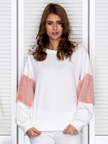 Bluza damska oversize z ozdobnym futerkiem ecru