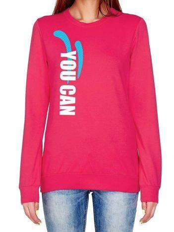 Bluza damska sportowa z napisem YOU CAN ciemnoróżowa