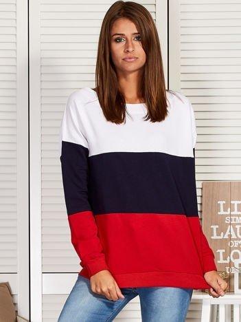 Bluza damska tricolor biało-granatowa
