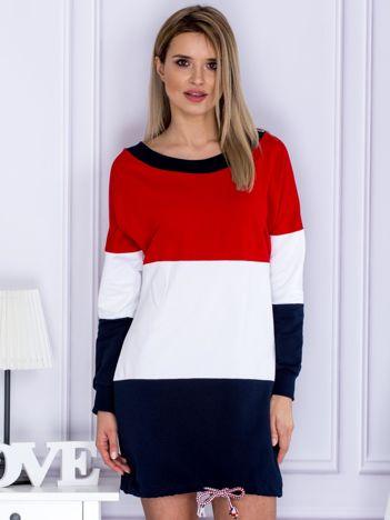 Bluza damska tricolor z dekoltem z tyłu