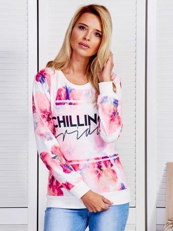 Bluza damska w kolorowe kwiaty różowa