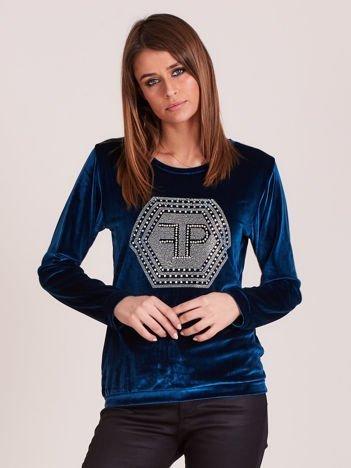 Bluza damska welurowa z błyszczącymi kamykami ciemnoturkusowa