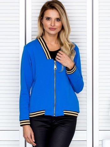 Bluza damska z błyszczącym ściągaczem niebieska