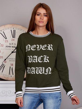 Bluza damska z gotyckim napisem khaki