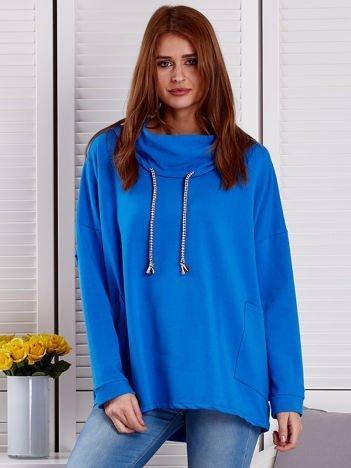 Bluza damska z kolorowymi troczkami niebieska