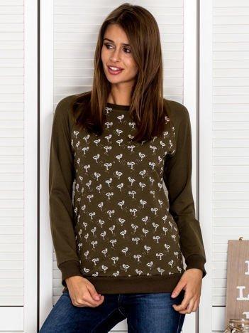 Bluza damska z nadrukiem flamingów khaki