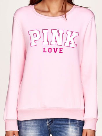 Bluza damska z napisem PINK LOVE jasnoróżowa
