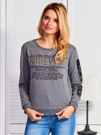 Bluza damska z napisem z perełek ciemnoszara