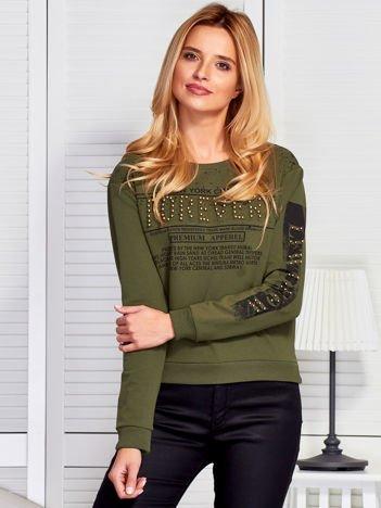 Bluza damska z napisem z perełek khaki