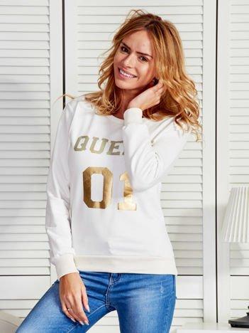 Bluza damska ze złotym napisem ecru