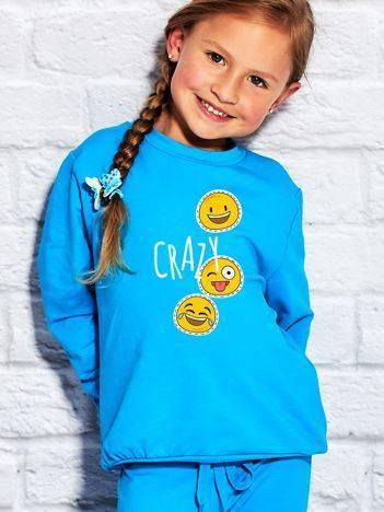 Bluza dla dziewczynki z motywem emoji turkusowa