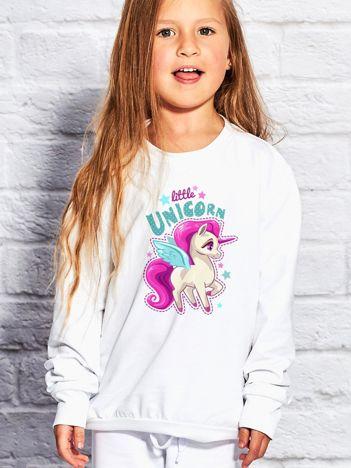 Bluza dla dziewczynki z motywem jednorożca biała