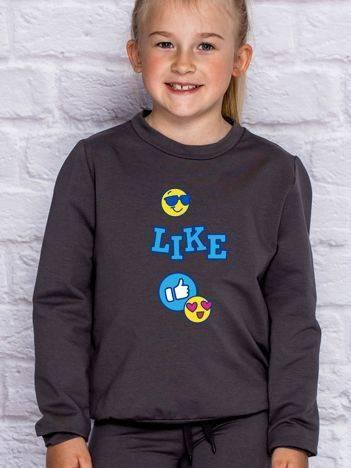Bluza dla dziewczynki z nadrukiem emoji ciemnoszara