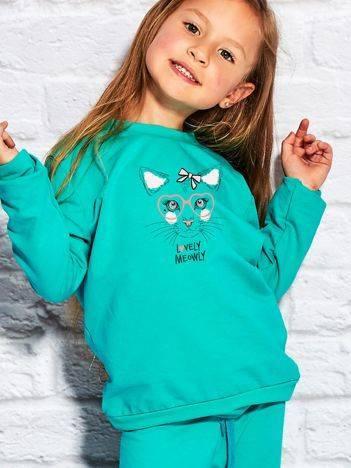 Bluza dla dziewczynki z nadrukiem kota zielona