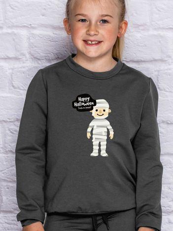 Bluza dziecięca z halloweenowym nadrukiem grafitowa
