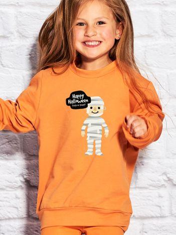 Bluza dziecięca z halloweenowym nadrukiem pomarańczowa