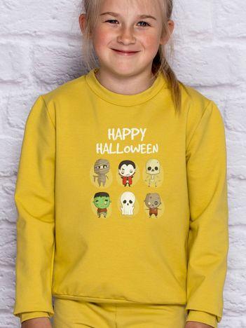 Bluza dziecięca z nadrukami postaci Halloween miodowa