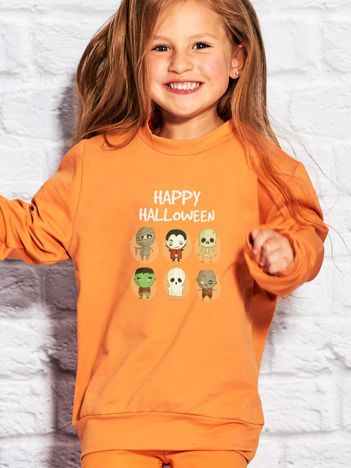 Bluza dziecięca z nadrukami postaci Halloween pomarańczowa