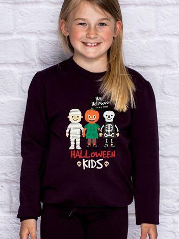 Bluza dziecięca z nadrukiem HALLOWEEN KIDS ciemnofioletowa