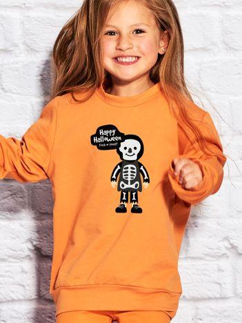 Bluza dziecięca z nadrukiem Halloween pomarańczowa