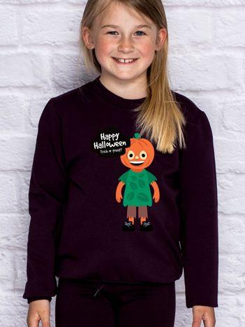 Bluza dziecięca z nadrukiem TRICK OR TREAT ciemnofioletowa