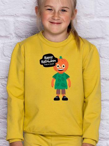 Bluza dziecięca z nadrukiem TRICK OR TREAT miodowa