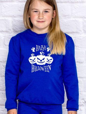Bluza dziecięca z nadrukiem dyni Halloween kobaltowa