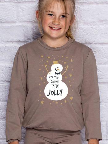 Bluza dziecięca ze świątecznym nadrukiem bałwana kawowa