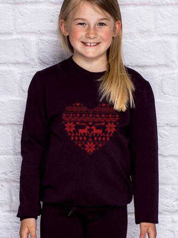 Bluza dziecięca ze świątecznym nadrukiem ciemnofioletowa