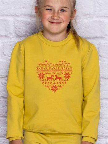 Bluza dziecięca ze świątecznym nadrukiem miodowa