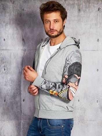 Bluza męska z komiksowymi rękawami szara
