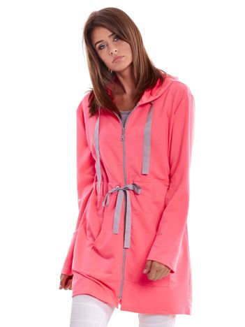 Bluza z kapturem i troczkami fluo różowa