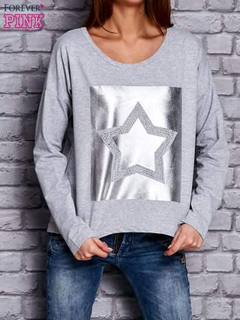 Bluza z motywem gwiazdy jasnoszara