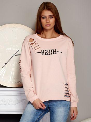 Bluza z napisem i rozcięciami różowa
