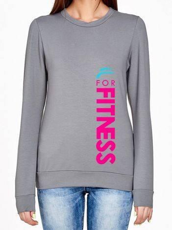 Bluza z pionowym napisem FOR FITNESS szara