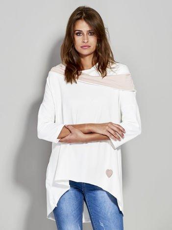 Bluza z szerokim dekoltem ecru