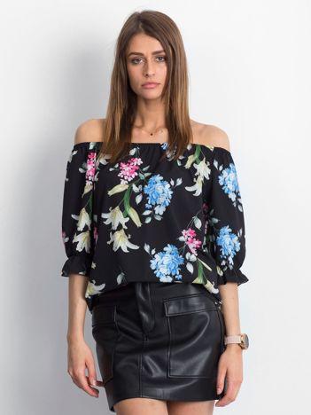 Bluzka czarna z hiszpańskim dekoltem w kwiaty