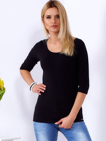 Bluzka czarna ze sznurowanym dekoltem na plecach