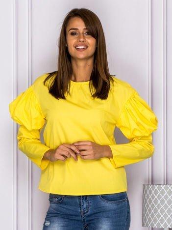 Bluzka damska z bufkami na rękawach żółta
