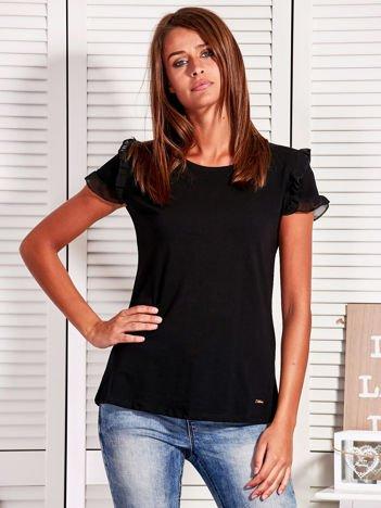 Bluzka damska z falbankami na rękawach czarna